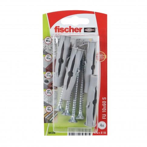 Diblu universal din nylon, cu surub, Fischer FU 10, 10 x 60 mm, set 4 bucati