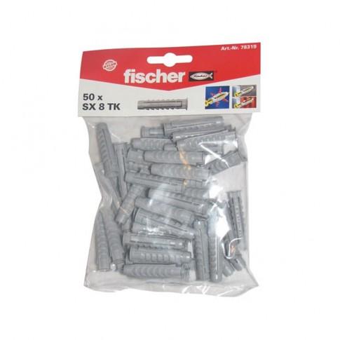 Diblu universal din nylon, Fischer SX 8 TK, 8 x 40 mm, set 50 bucati