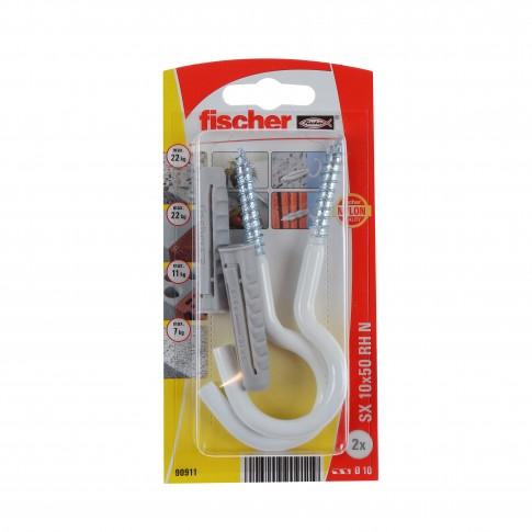 Diblu universal, din nylon, cu surub cu carlig ochi deschis, alb, Fischer SX, 10 x 50 mm, set 2 bucati