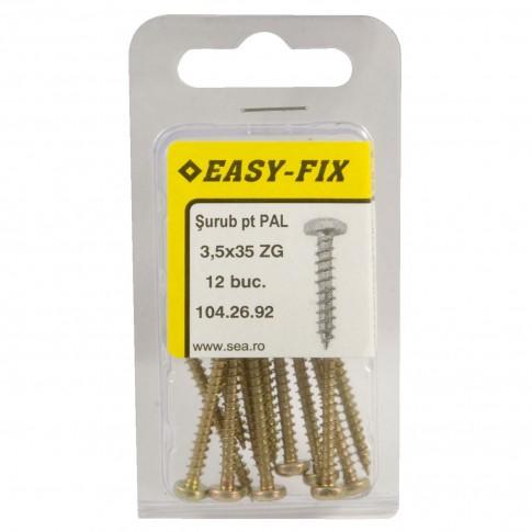 Surub pentru PAL / lemn, cu cap bombat, amprenta cruce, Easy-Fix, otel, zincat galben, 3.5 x 35 mm, set 12 bucati