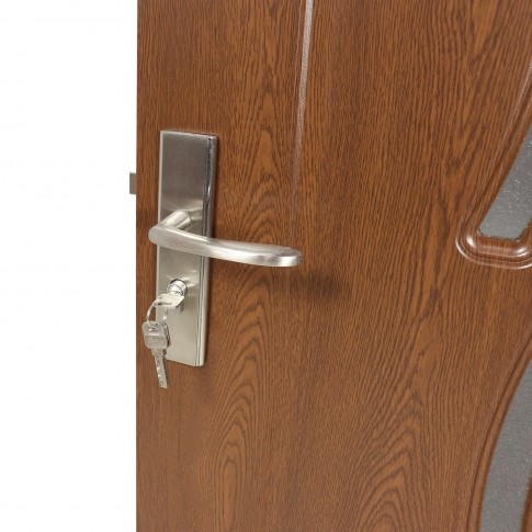 Usa de interior din lemn cu geam Super Door F02-88-S stanga / dreapta stejar inchis 203 x 88 cm
