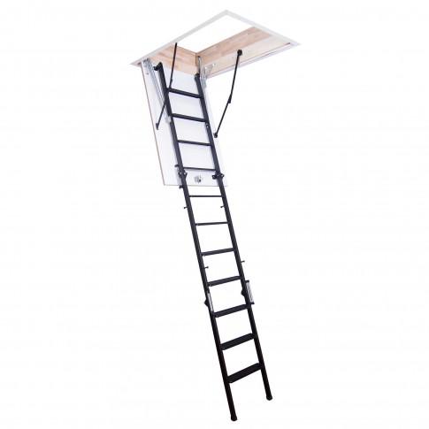Scara mansarda, Profil Metal Step, metal + lemn, retractabila, 70 x 110 x 280 cm