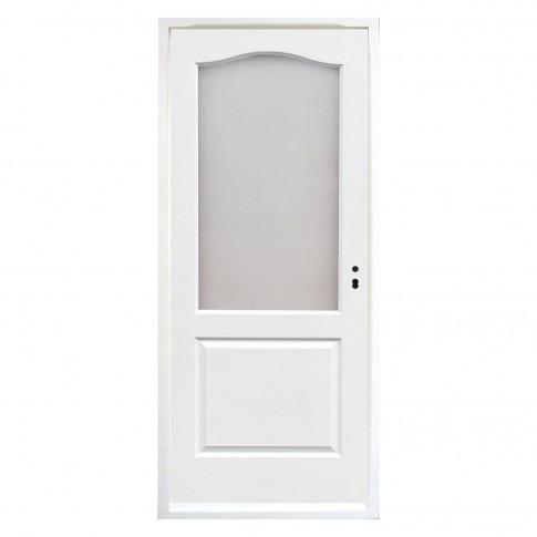 Usa interior celulara cu geam, Eco Euro Doors, HDF, stanga, Gol, alb, 205 x 86 x 4 cm cu toc
