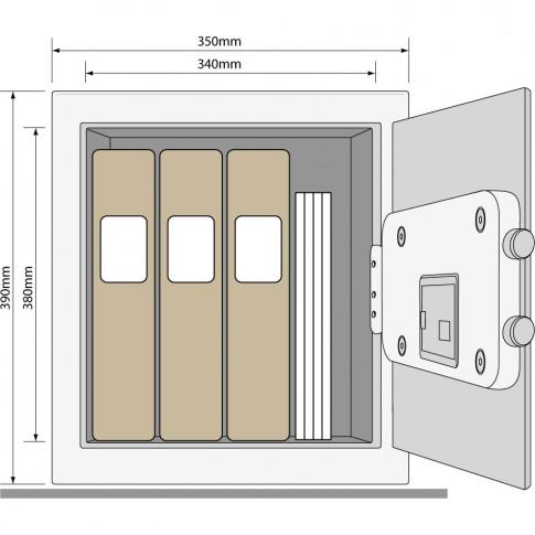 Seif standard birou Yale YSV/390/DB1, cifru, 420 x 370 x 380 mm