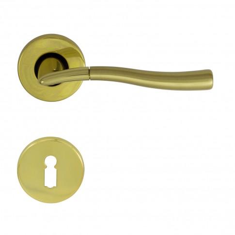 Maner cu rozeta pentru usa interior Onda Verofer BB, alama, auriu lucios / satinat,  D = 50 mm