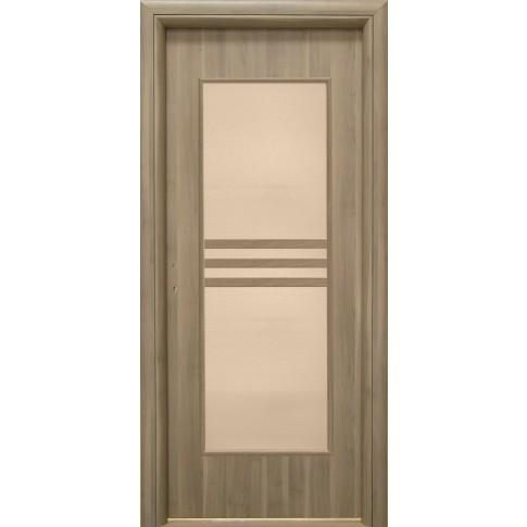 Usa interior celulara cu geam, Eco Euro Doors R80, dreapta, Gol D3, gri, 202 x 86 x 4 cm cu toc