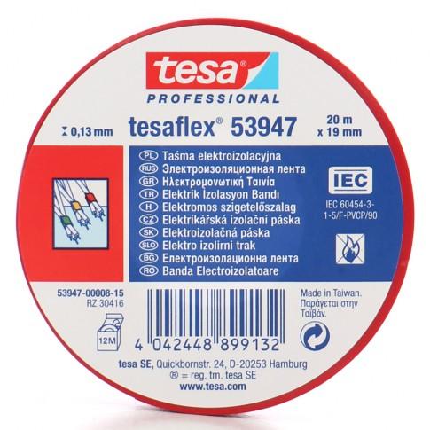 Banda izolatoare Tesa 53947, ignifuga, rosie 20 m x 19 mm