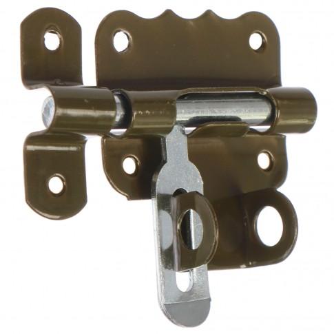 Zavor aplicat cu bolt rotund si mecanism blocare, inchidere cu lacat, auriu, 53 x 38 mm
