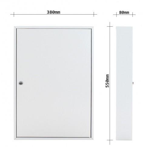 Caseta pentru chei Rottner S100, otel, alba, 55 x 38 x 8 cm