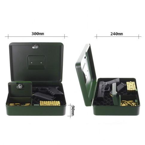 Caseta pistol Rottner GunBox T04828, 2 usi, otel, verde, 300 x 240 x 90 mm