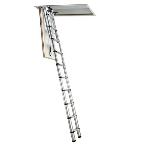 Scara mansarda, Profil Alustep, metal + lemn, retractabila, 70 x 110 x 280 cm