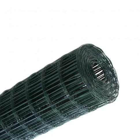 Plasa gard ornamental Grunman, acoperita cu PVC, verde, 2 x 25 m (2,1 x 100 x 60 mm)