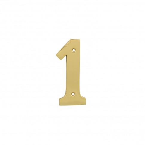 Numar 1 pentru usa / casa Verofer, alama, auriu lucios, interior  / exterior, 120 mm