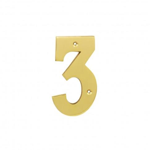 Numar 3 pentru usa / casa Verofer, alama, auriu lucios, interior / exterior, 120 mm