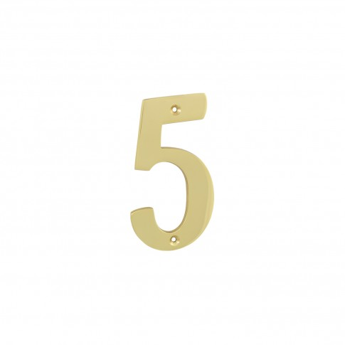 Numar 5 pentru usa / casa Verofer, alama, auriu lucios, interior / exterior, 120 mm
