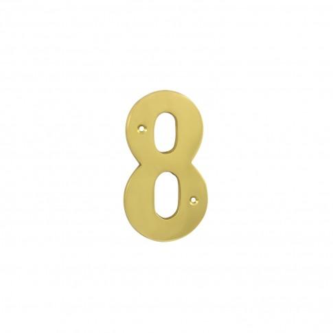 Numar 8 pentru usa / casa Verofer, alama, auriu lucios, interior / exterior, 120 mm