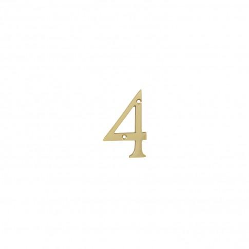 Numar 4 pentru usa / casa Verofer, alama, auriu lucios, interior / exterior, 80 mm