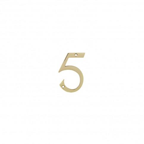 Numar 5 pentru usa / casa Verofer, alama, auriu lucios, interior / exterior, 80 mm