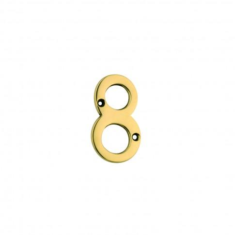 Numar 8 pentru usa / casa Verofer, alama, auriu lucios, interior / exterior, 80 mm