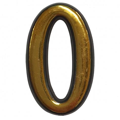 Numar 0 pentru usa Sunprints, plastic, auriu, semirotund, interior / exterior, 5.5 x 3.5 cm