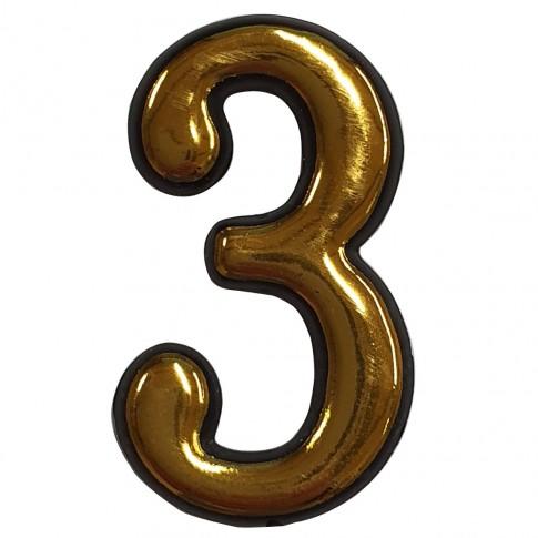 Numar 3 pentru usa Sunprints, plastic, auriu, semirotund, interior / exterior, 5.5 x 3.5 cm