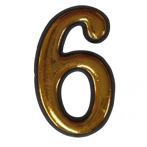 Numar 6 pentru usa Sunprints, plastic, auriu, semirotund, interior / exterior, 55 x 35 mm