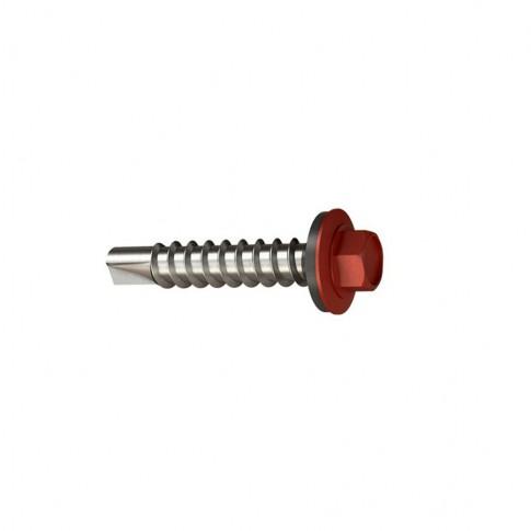 Surub pentru tigla metalica, autoforant, Bilka, rosu RAL 3011, 4.8 x 35 mm, 250 bucati