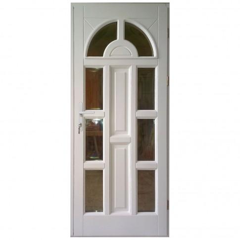Usa intrare din lemn, Zsuzsana, alba, cu sticla bombata, dreapta, 88 x 208 cm