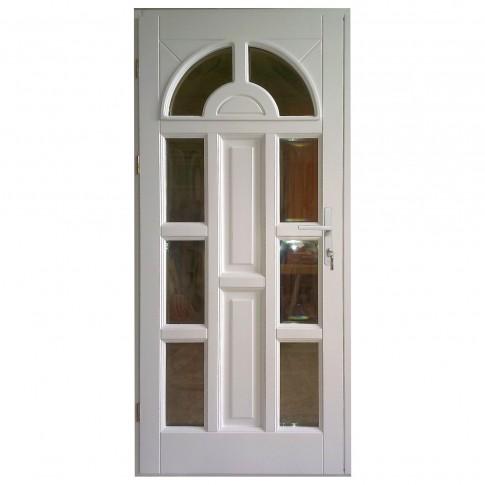 Usa intrare din lemn, Zsuzsana, alba, cu sticla bombata, stanga, 98 x 208 cm