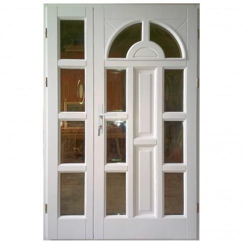 Usa intrare din lemn, Zsuzsana, alba, cu sticla bombata, dreapta, 138 x 208 cm