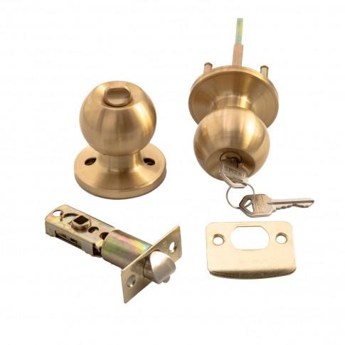 Maner rotund pentru usa lemn, Fighter 6871, alama, auriu mat, 170 x 65 mm