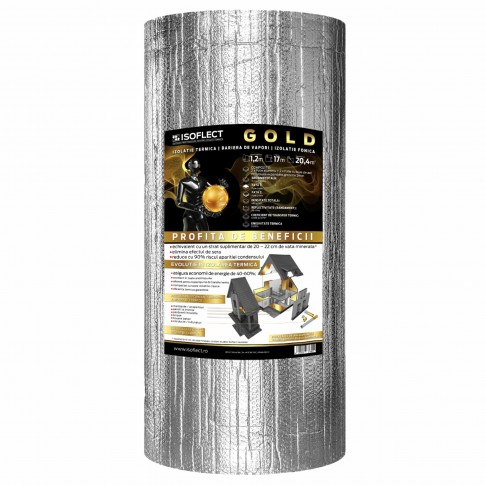 Folie termoizolanta Isoflect Gold, 5 straturi, 1.2 x 17 m, 20.4 mp