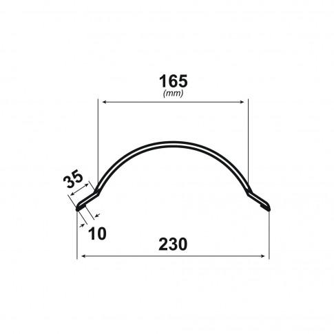 Coama mica Bilka, gri mat (RAL 7024), 2000 x 230 x 0.5 mm