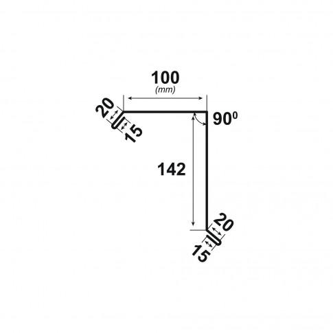 Bordura fronton Bilka gri mat (RAL 7024) 2000 x 312.5 x 0.5 mm