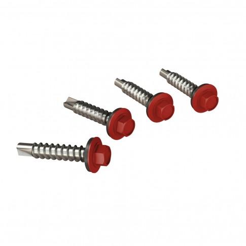 Surub pentru tigla metalica, autoforant, Bilka, rosu aprins RAL 3000, 4.8 x 35 mm, 250 bucati