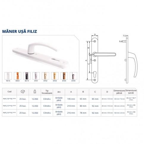 Maner usa interior, cu arc, Filiz, alb, 85 mm, 195 x 28 mm