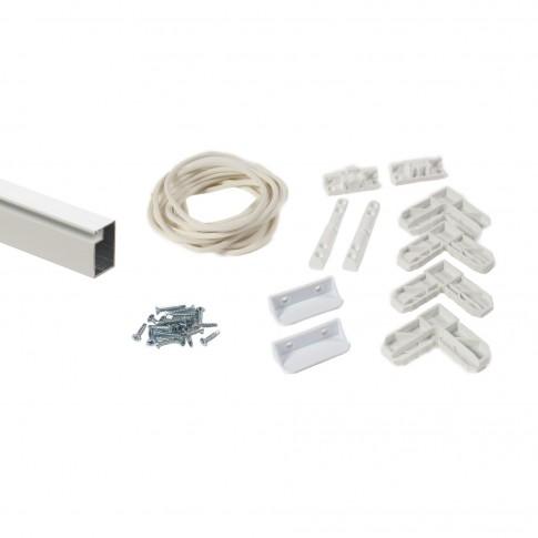 Kit rama plasa insecte / tantari, Far Est, pentru ferestre, aluminiu, alb, 1 x 1 m
