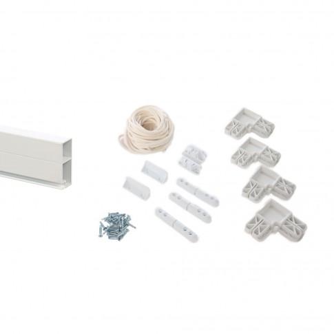 Kit rama plasa insecte / tantari, Far Est, pentru usi, aluminiu, alb, 1 x 2.5 m