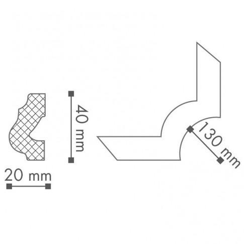 Profil polistiren decorativ NMC O16 clasic alb 4 x 2 cm