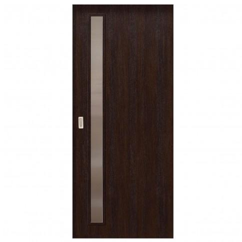 Usa de interior culisanta Eco Euro Doors, cu geam, wenge fibra, 95 x 206 cm + maner ingropat