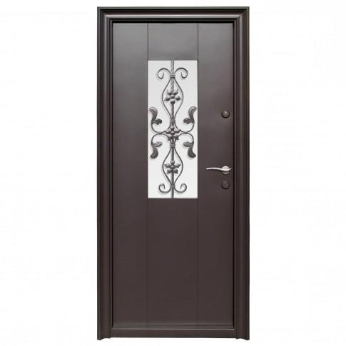 Usa metalica pentru exterior Tracia Apullum, stanga, maro cenusiu, 205 x 88 cm + accesorii