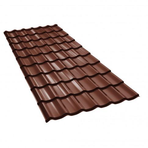 Tigla metalica Baudeman Clasic 35, maro ciocolatiu lucios (RAL 8017), 2220 x 1200 x 0.45 mm