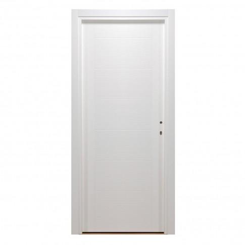 Usa interior celulara, Eco Euro Doors HDF T, stanga, alb, 205 x 66  cm cu toc
