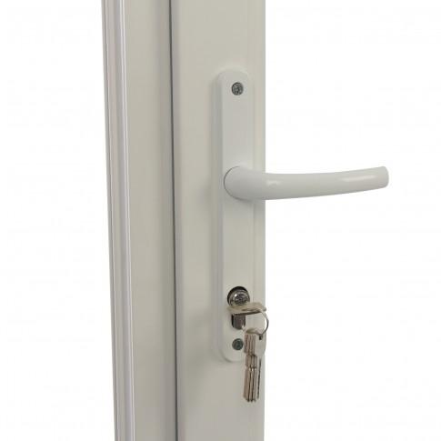 Usa exterior din PVC cu geam termopan, Far Est Weiss, 3 camere, prag PVC, dreapta , alb, 88 x 198 cm