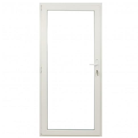 Usa exterior din PVC cu geam termopan, Far Est Weiss, 3 camere, prag PVC, stanga, alb, 98 x 198 cm