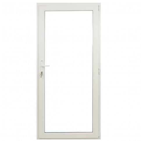 Usa exterior din PVC cu geam termopan, Far Est Weiss, 3 camere, prag PVC, dreapta , alb, 98 x 198 cm
