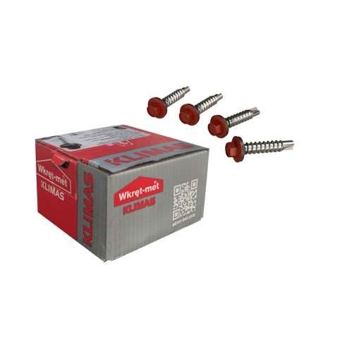 Surub pentru tigla metalica, autoforant, Bilka, rosu inchis RAL 3009, 4.8 x 35 mm, 100 bucati