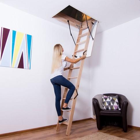 Scara mansarda, Profil Standard, lemn + PAL, retractabila, 60 x 100 x 250 cm