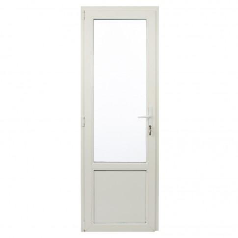Usa exterior din PVC cu geam termopan 2/3, Far Est Weiss tip 2, 3 camere, prag aluminiu, stanga, alb, 77 x 202 cm
