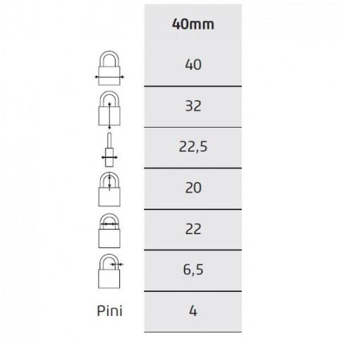 Lacat otel Thirard, lamelar, 40 mm